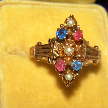 Antique Victorian Pink Blue Sapphire Seed Pearl 12k Ring England