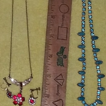 Red & Blue Necklace & Earring Sets - Costume Jewelry