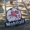 vintage double sided porcelain pegasus mobil oil sign