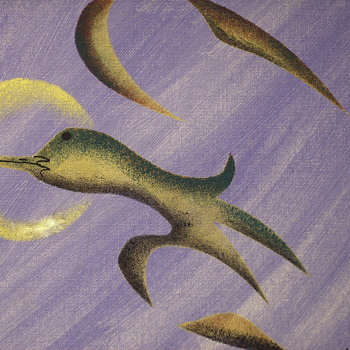 "Acrylic on Board 2 of 2""Loon Spirit and Golden Sun""Russel Noganosh,Circa 1980-90"