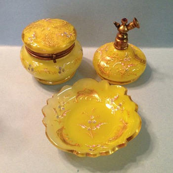 Bohemian, Moser style dresser set - Art Glass