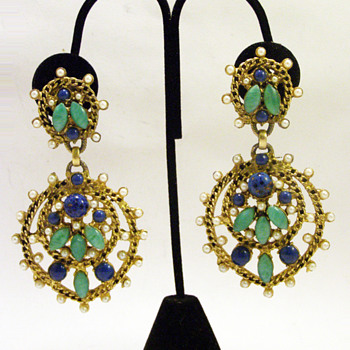 Vintage Kenneth Jay Lane Huge Byzantine Earrings - Costume Jewelry