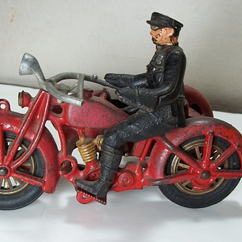 Cast Iron Hubley Motorcycle and Sidecar - Toys