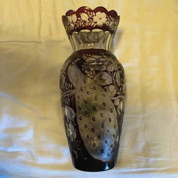 peacock and floral designed rose etched vase
