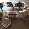 ANTIQUE SCOTTISH PEBBLE AGATE GOLD BRACELET