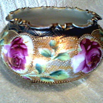 "Beautiful Hand Painted Nippon""Cobalt Rose"" Bowl/ Gold with Beaded Accents /Maple Leaf Mark (Morimura Bros.Co.)/ Circa 1891-1911"