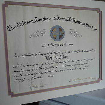 Atchison Topeka and Santa Fe Railway System Certificate of Honor March 1950