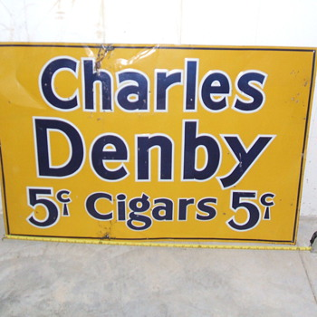2'x3' tin 5 cent cigar sign - Signs