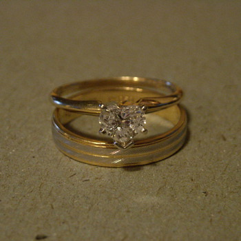 18KT and Platinum Ring, 14KT Heart Diamond Solitaire - Fine Jewelry