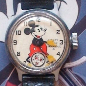 A very nice 1934 Ingersoll Mickey with original leather strap