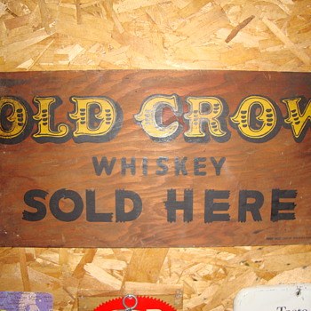 Vintage Old Crow Whiskey Sign........