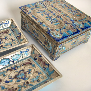 Old Polished Silver Finish & Enamel Chinese Smoking Set, Early 20th.
