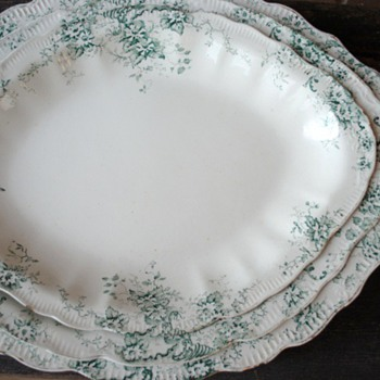 Three Ironstone Nesting Platters...breathtaking green flowers. Is this Limoges? Unmarked
