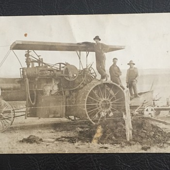 Antique RPPC Large Steam Engine Farm Tractor and Plow