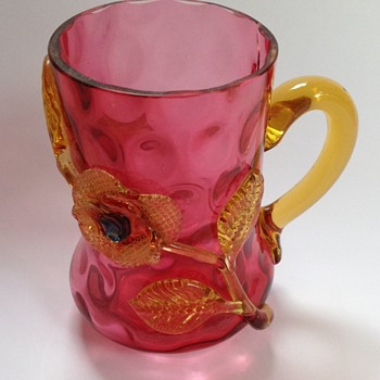Victorian ruby glass mug with applied flower - Art Glass