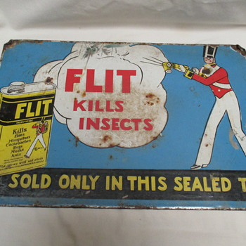 Vintage Flit kilss insects enamel sign end 1920s