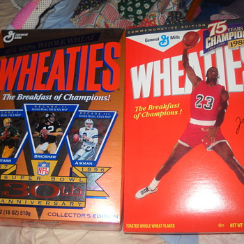 30th Anniversary Super Bowl Wheaties box, Michael Jordan reproduction of the 1988 box and a Mark McGwire mini box - Football