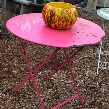 Bright Fuschsia-Painted, Iron, Parisian Folding Chair - old. - Furniture