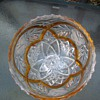 GLASS  CANDY DISH WITH  YELLOW GLASS