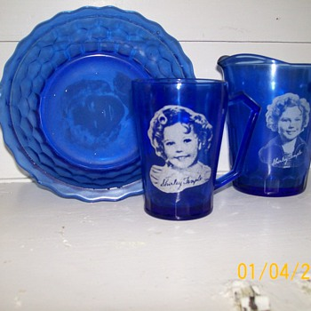 Shirley Temple Cobalt blue depression glassware