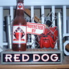 Red Dog beer sign.  Real chain-link fence.  Never saw this before