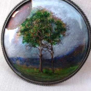 Arts and Crafts brooch, enamel attributed to Charles Fleetwood VARLEY.