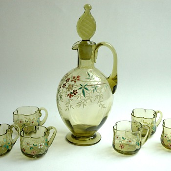lovely liquor set probably by LEGRAS   - Art Nouveau