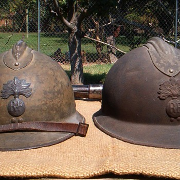 WWII French M1926 Adrian steel helmets