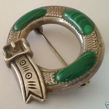 Antique Victorian Silver Malachite buckle brooch