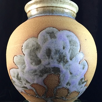 Unusual Purple Glaze Tree Motif Signed PP Red Clay Art Pottery Vase