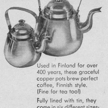 1950 Finnish Tea/Coffee Pots Advertisement - Advertising