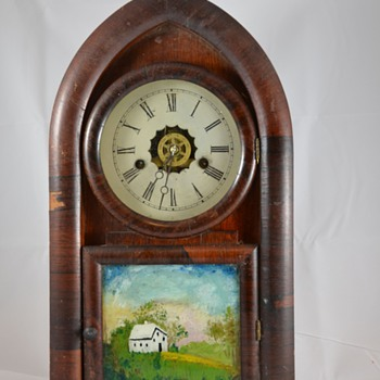 Hand Painted Glass Wooden Antique Mantel Clock Maker Unknown - Clocks