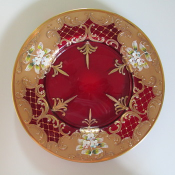 Bohemian Glass Plate, Ruby Red with Enameling - Glassware
