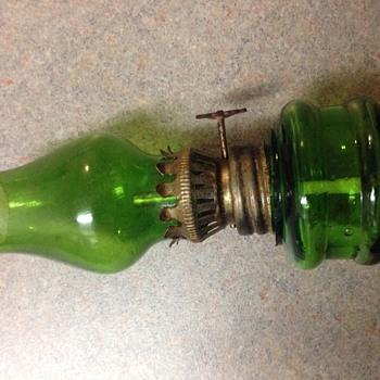 Green miniature oil lamp - Lamps