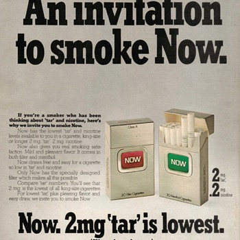 1976 - NOW brand Cigarettes Advertisement