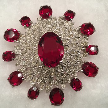 POLCINI RUBY & ICE BROOCH - Costume Jewelry