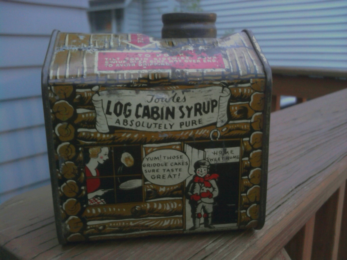 Amazing photo of Another Towles's Log cabin Syrup Tin Collectors Weekly with #7C4F69 color and 1200x900 pixels