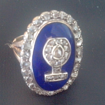 Antique enamel and diamond ring - Fine Jewelry
