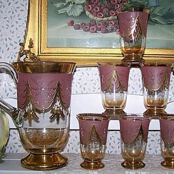 Another Old Lemonade Set, Beautiful Color - Glassware