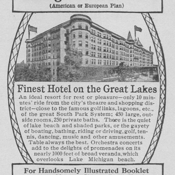 1909 Chicago Beach Hotel Advertisement - Advertising