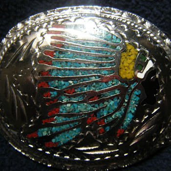 NATIVE AMERICAN MOTIF INLAID BELT BUCKLE