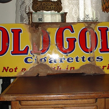 Old Gold cigarettes...Porcelain Sign...Four Colors - Signs