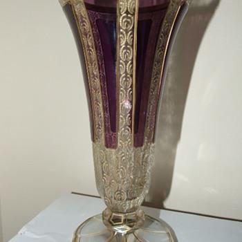 Moser Amethyst Panel Gilded Vase - Art Glass