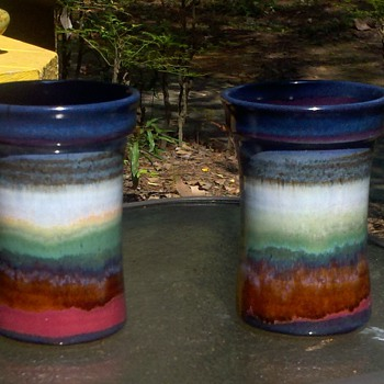 Susan DeMay multi-color galzed cups! - Art Pottery