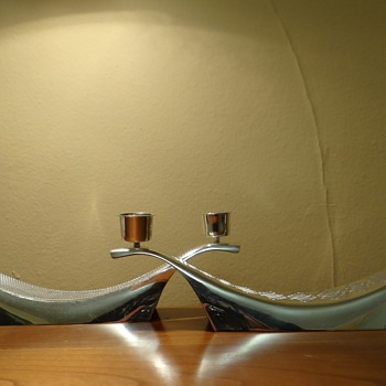VINTAGE WMF   S-COLLECTION  CANDLE HOLDERS  (2 CANDLE HOLDERS)