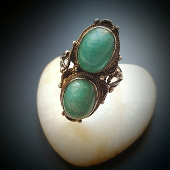 Arts and Crafts amazonite silver double shank ring.