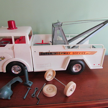 1960s Big Bruiser Super Highway Service Wrecker Tow Truck by Marx Toys - Toys