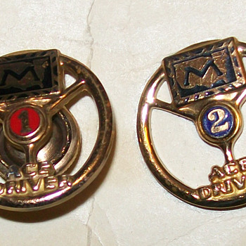 1950's Markel Trucking Insurance Ace driver 1 & 2 year pins (DrFluffy made me post these:)) - Medals Pins and Badges