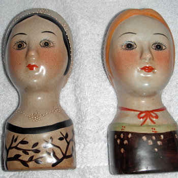 Lady Head Vase Wall Pocket Pair - Art Pottery