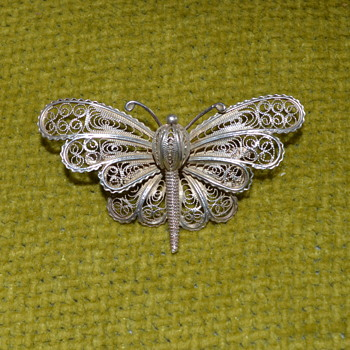 Cannetille butterfly brooch